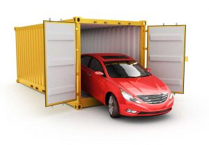 shipping container with car in it